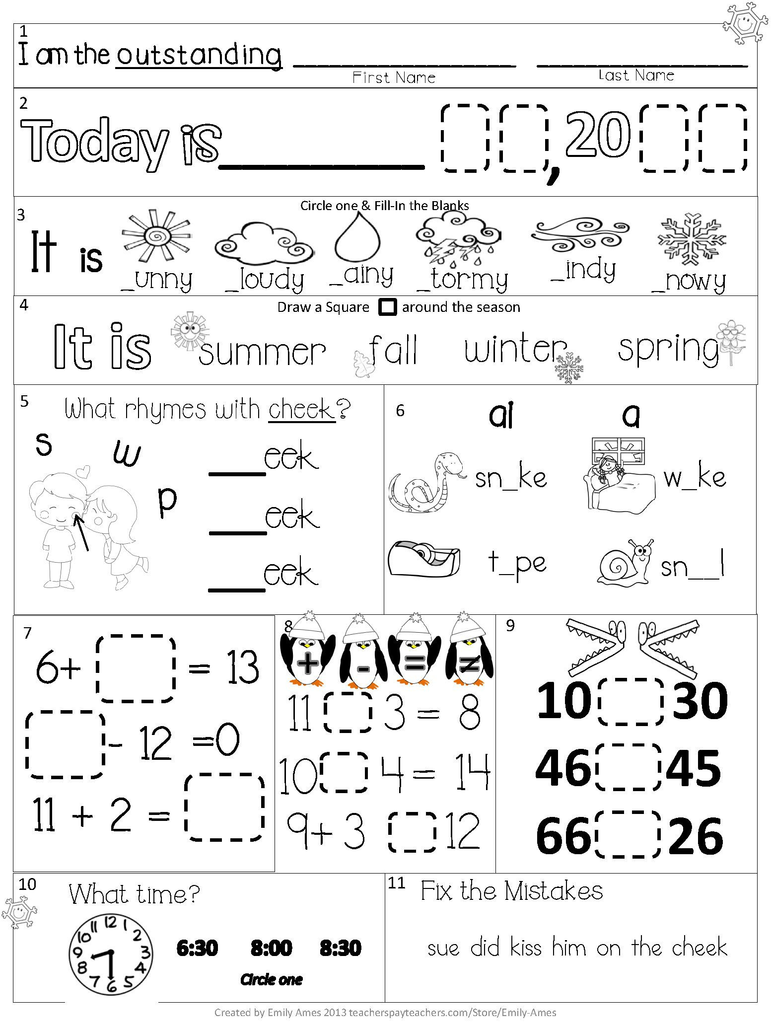 1st Grade Morning Work Worksheets Morning Work First Grade February Packet Differentiated