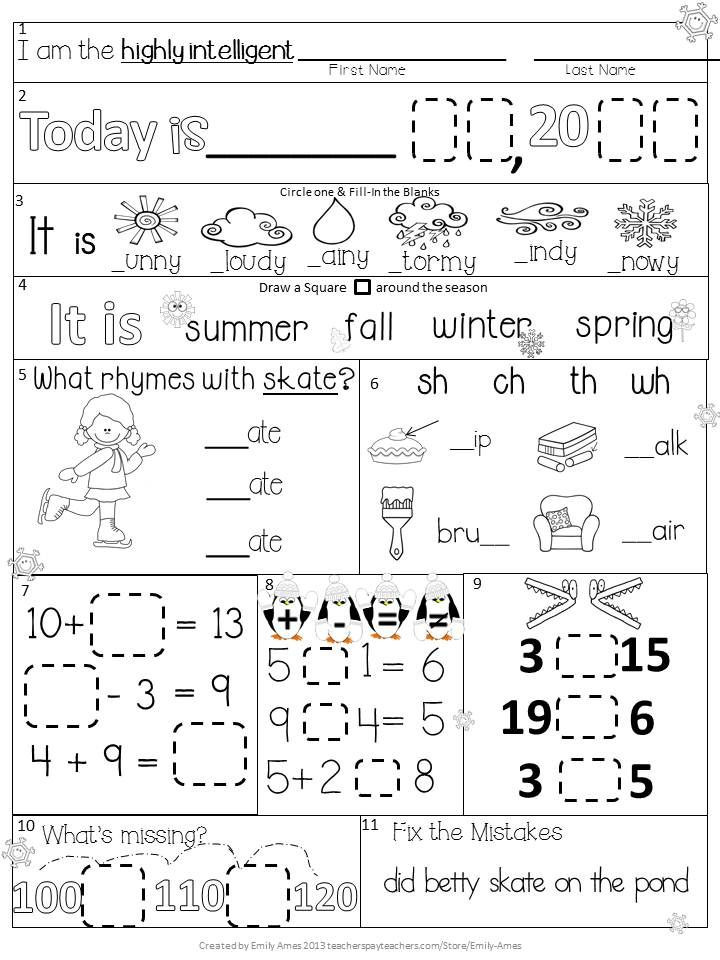 1st Grade Morning Work Worksheets Morning Work First Grade January Packet Winter
