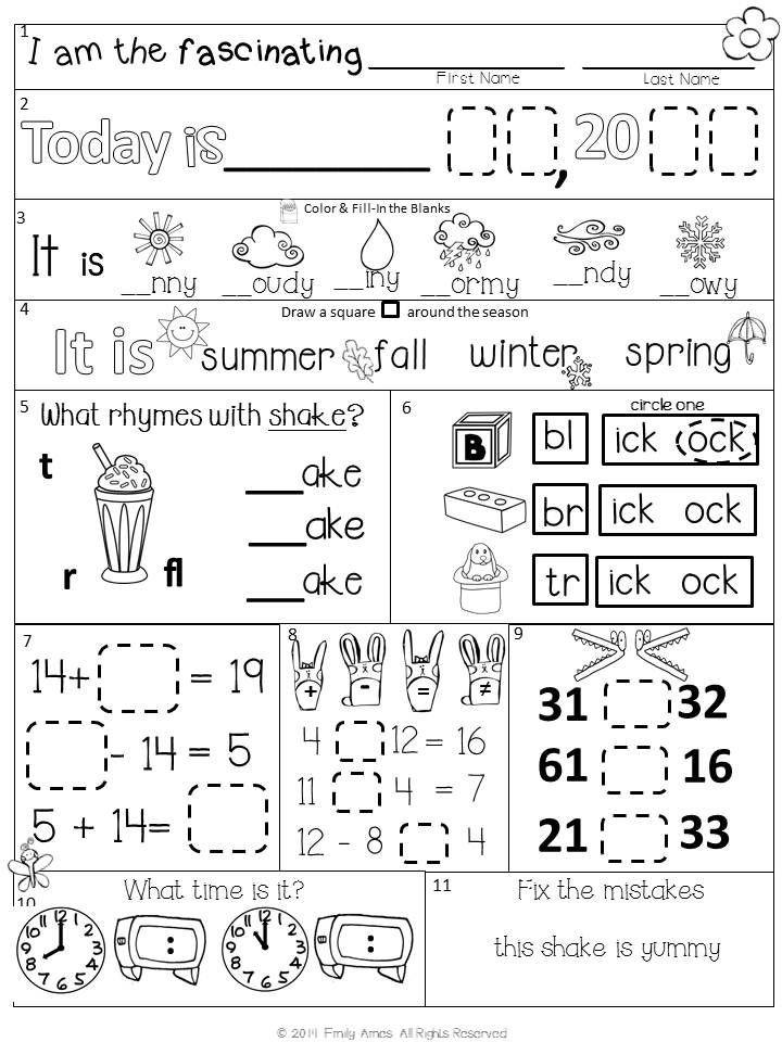 1st Grade Morning Work Worksheets Morning Work First Grade Packet for April