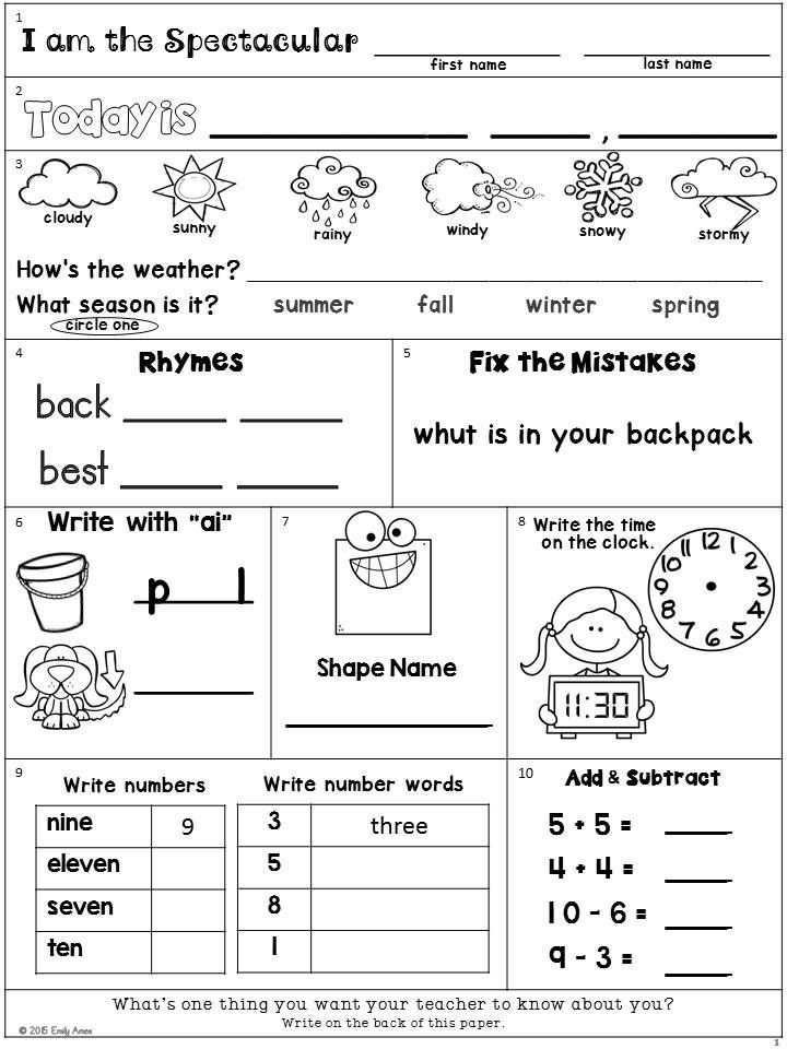 1st Grade Morning Work Worksheets Morning Work Freebie Second Grade August Packet