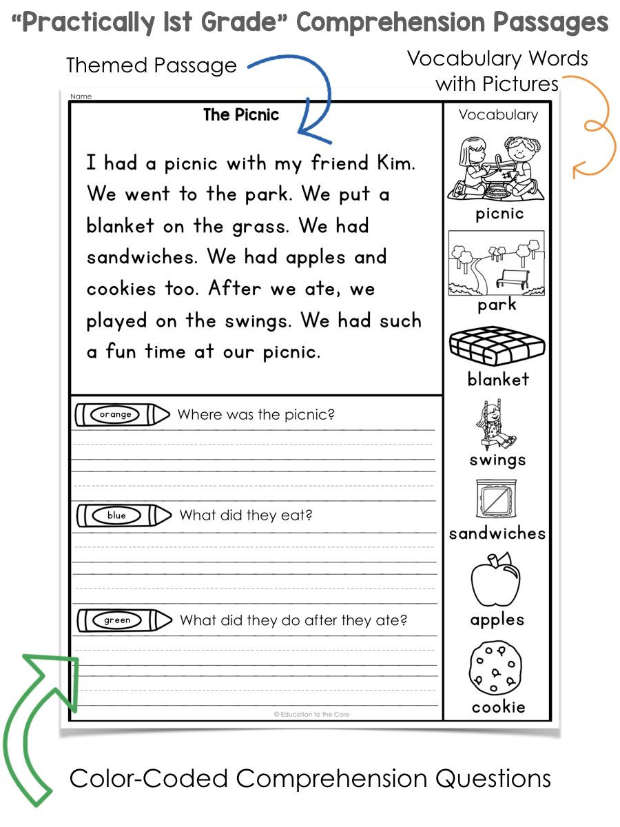 "1st Grade Reading Worksheets Practically 1st Grade"" Reading Prehension Passages and"