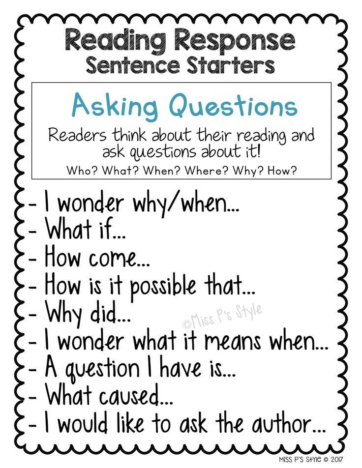 1st Grade Sentence Starters Reading Response Sentence Stems and Starters