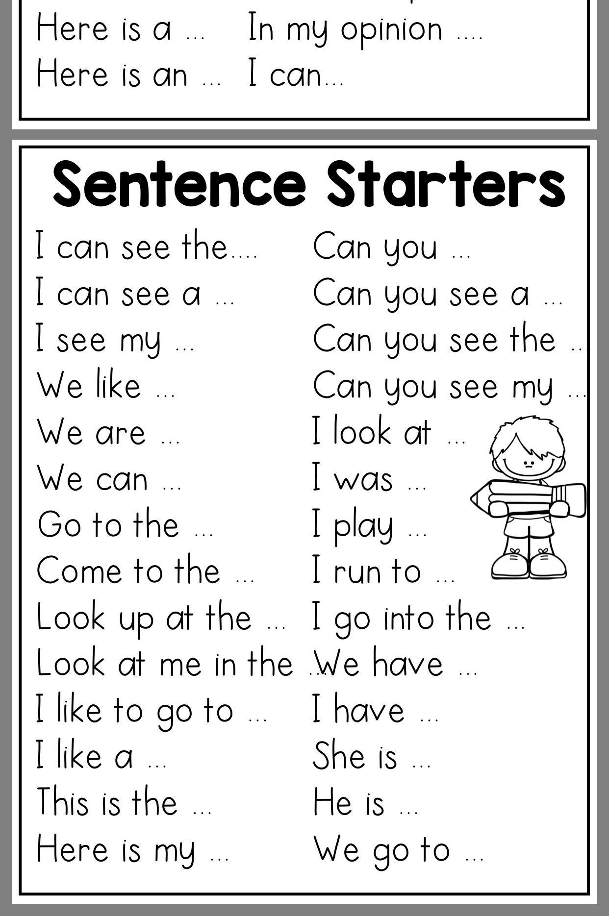1st Grade Sentence Starters Sentence Starter Printouts Kinder Writing Work On Writing