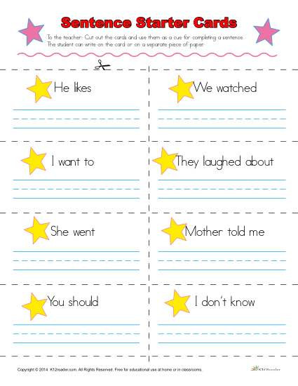 1st Grade Sentence Starters Sentence Starters Cards for Kindergarten and 1st Grade