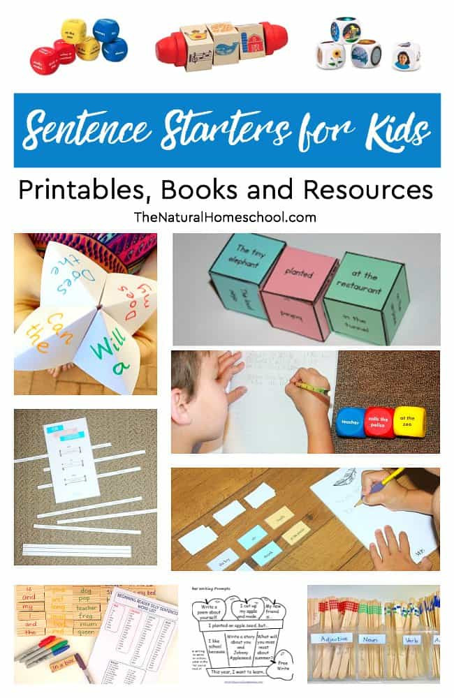 1st Grade Sentence Starters Sentence Starters for Kids Printables Books and Resources