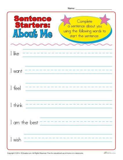 1st Grade Sentence Starters Sentence Starters for Kindergarten and 1st Grade