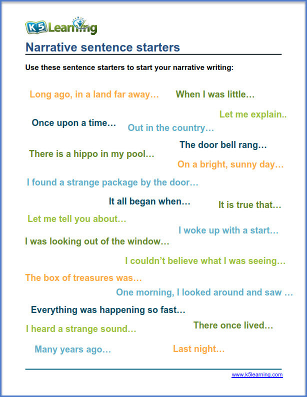 1st Grade Sentence Starters tools for Narrative Writing Practice