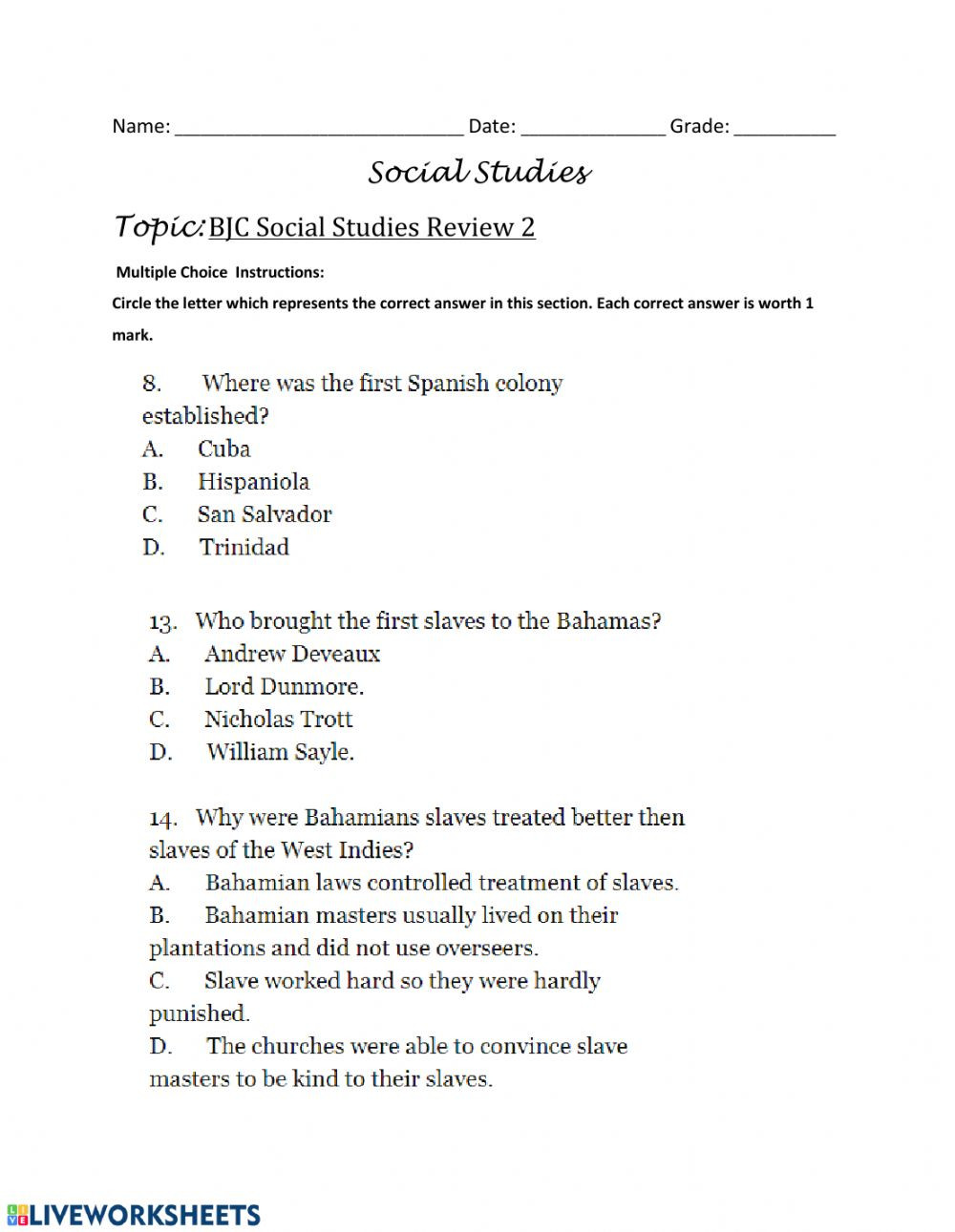 1st Grade social Studies Worksheets Bjc Review Multiple Choice Questions 3 Interactive