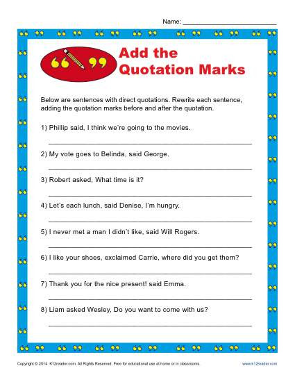 2nd Grade Editing Worksheets Add the Quotation Marks Worksheet
