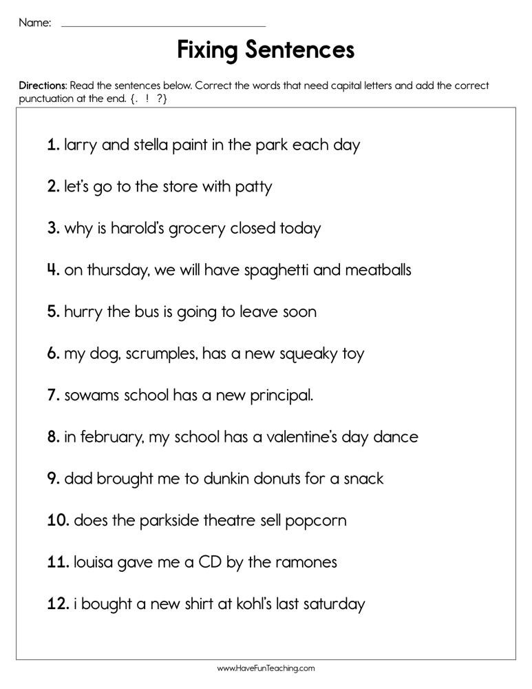 2nd Grade Editing Worksheets Editing Sentences Worksheet