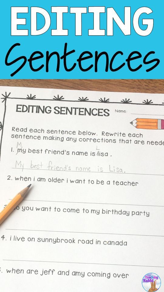 2nd Grade Editing Worksheets Sentence Editing with Images