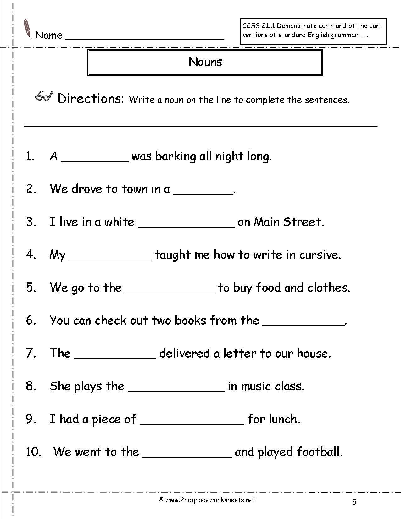 2nd Grade Grammar Worksheets Free 2 Grade English Worksheets