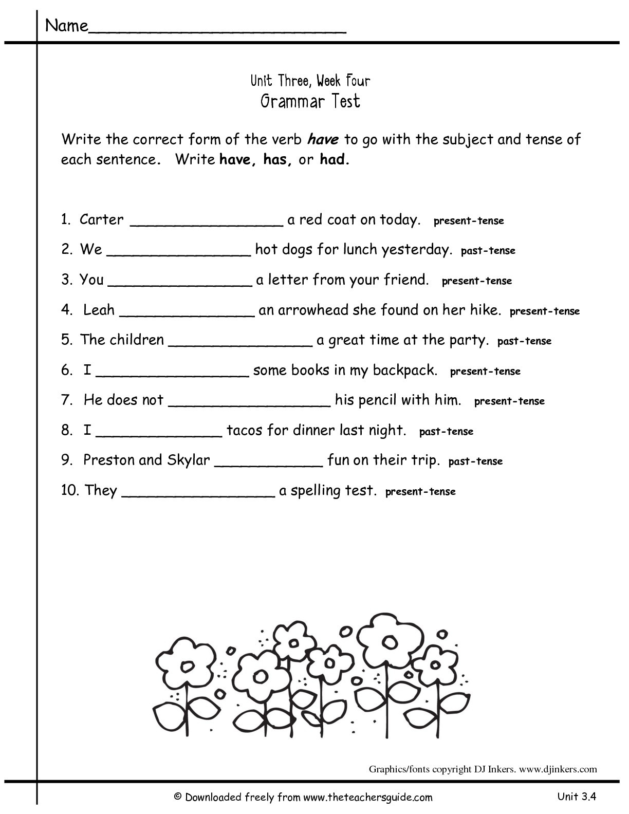 2nd Grade Grammar Worksheets Free 8 Worksheets for 2nd Grade Grammar