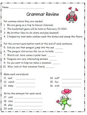 2nd Grade Grammar Worksheets Grammar Review Freebie