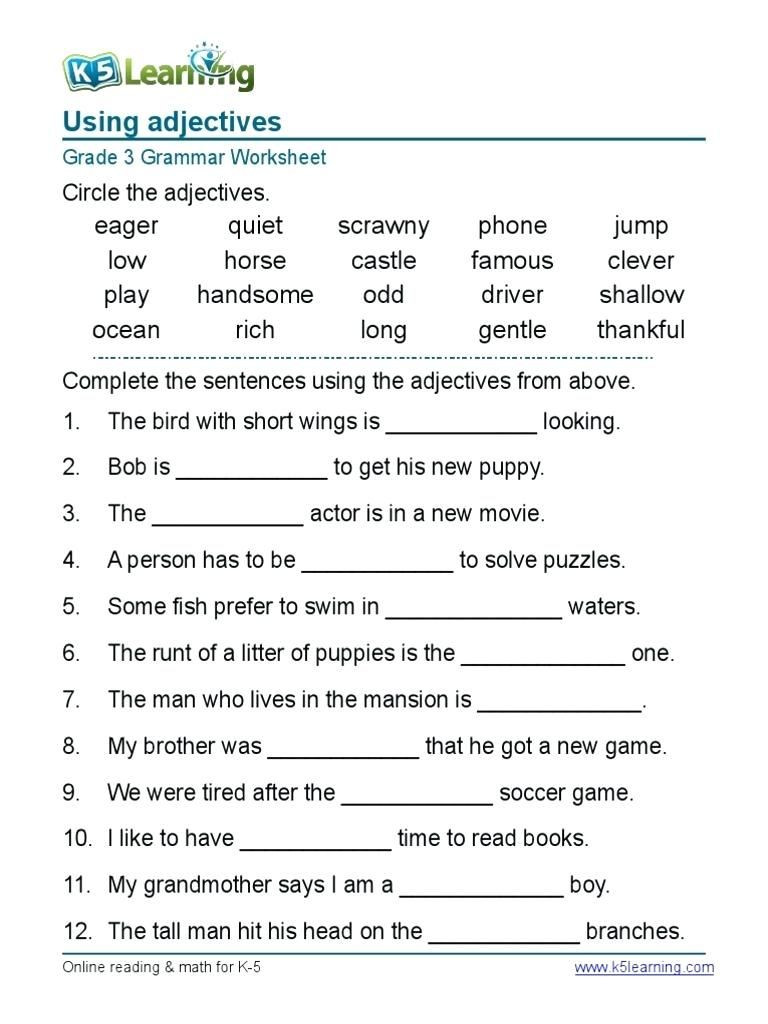 2nd Grade Grammar Worksheets Worksheet English Grammar Worksheets for Grad Worksheet