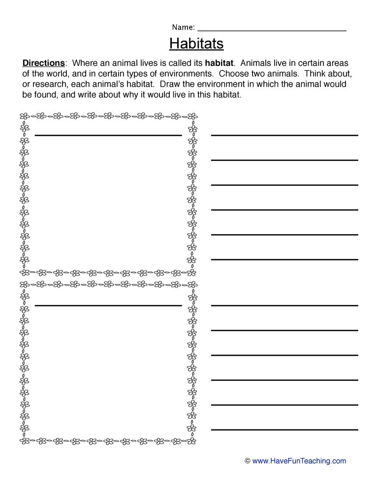2nd Grade Habitat Worksheets Animal Habitats Worksheet