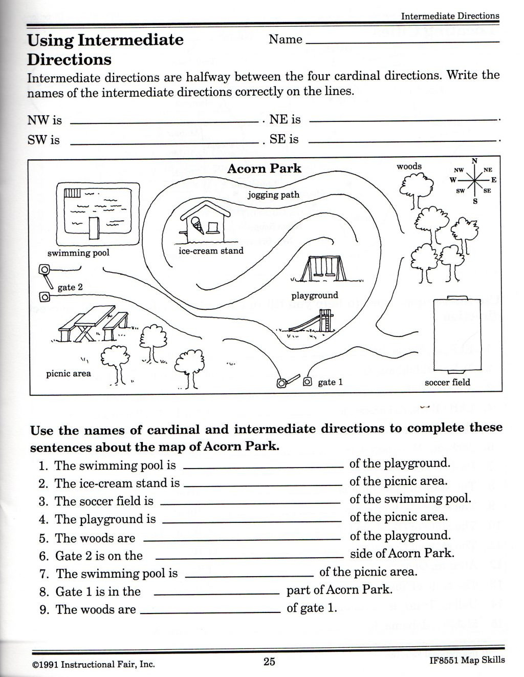 2nd Grade Map Skills Worksheets Map Skills Worksheets for Print Map Skills Worksheets