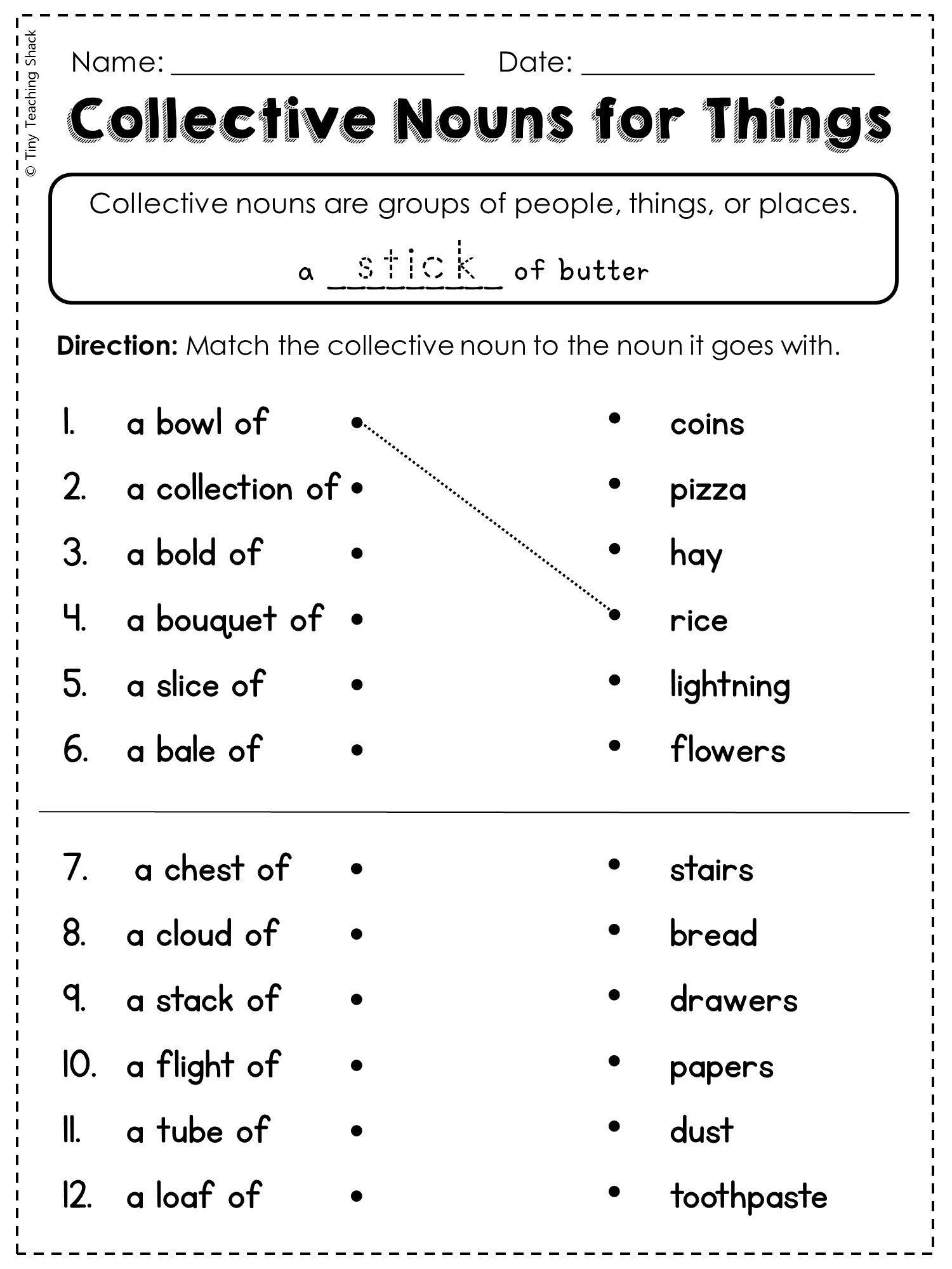 2nd Grade Noun Worksheets 2nd Grade Language Arts and Grammar Practice Sheets Freebie