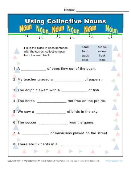 2nd Grade Noun Worksheets Collective Noun Worksheets