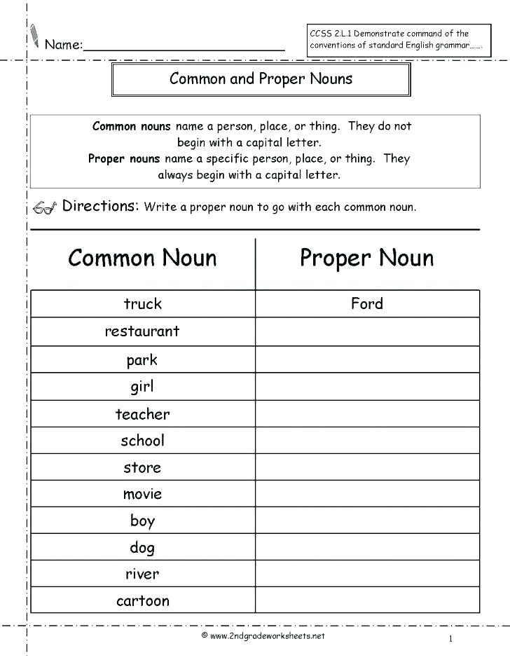 2nd Grade Noun Worksheets Nouns and Verbs Worksheets 2nd Grade – Dailycrazynews