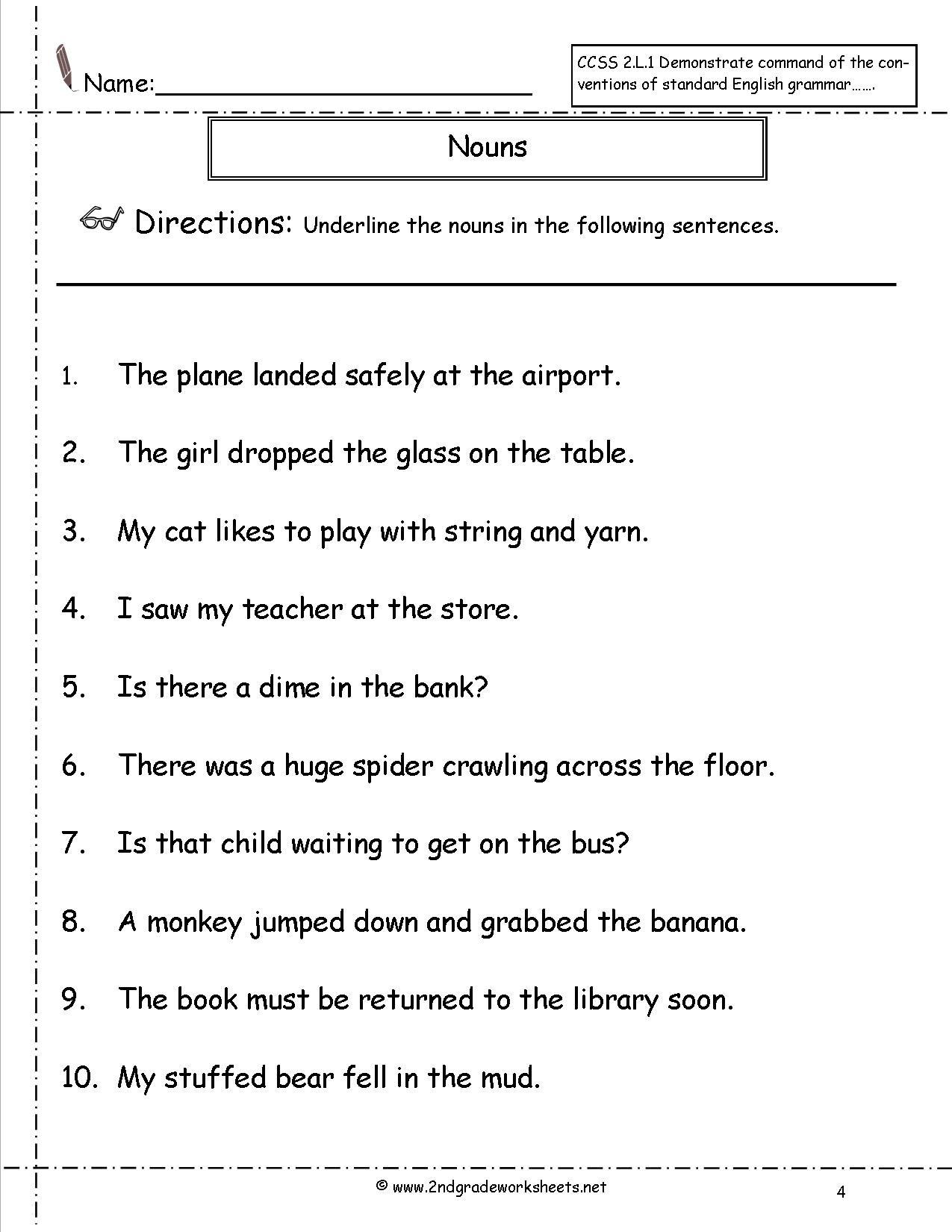 2nd Grade Noun Worksheets Nouns Worksheets and Printouts