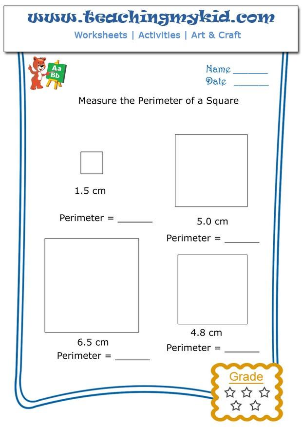 2nd Grade Perimeter Worksheets Fun Worksheets for Kids Measure the Perimeter Of A Square 4