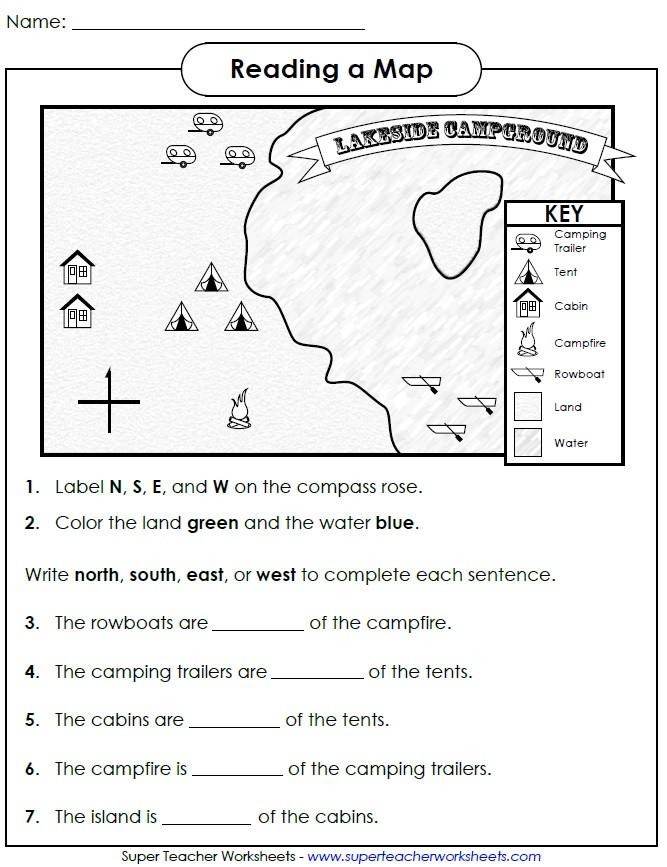 2nd Grade social Studies Worksheet Reading Map Cardinal Directions Grade social Stu S