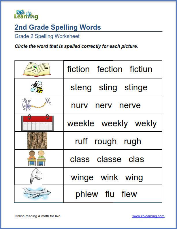 2nd Grade Spelling Worksheet Second Grade Spelling Worksheets