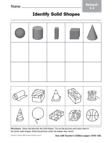 3d Shapes Worksheets 2nd Grade Identify solid Shapes 4 Worksheet for 1st 2nd Grade
