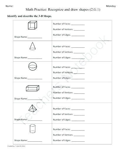 3d Shapes Worksheets 2nd Grade Shapes Worksheets for Grade 2 Shapes Worksheet Naming
