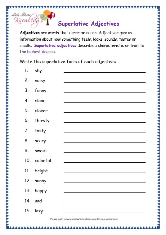 3rd Grade Adjectives Worksheets Grade 3 Grammar topic 15 Superlative Adjectives Worksheets