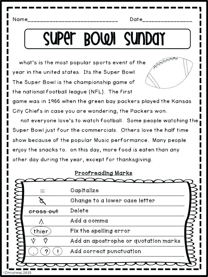 3rd Grade Editing Worksheets Kindergarten Capitalized Math Printable Middle School