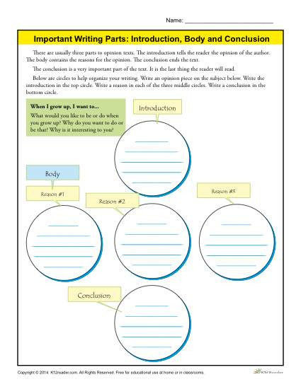 3rd Grade Essay Writing Worksheet Introduction Body and Conclusion Worksheet for 3rd Grade