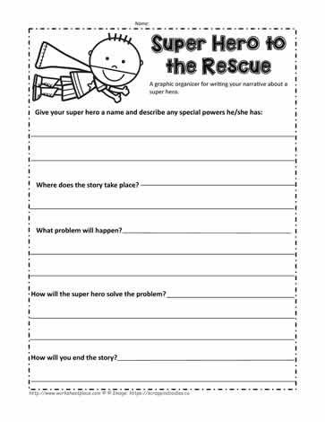 3rd Grade Essay Writing Worksheet Narrative Writing Super Hero Worksheets