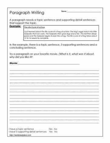 3rd Grade Essay Writing Worksheet Paragraph Writing Worksheet This Website Has some Good