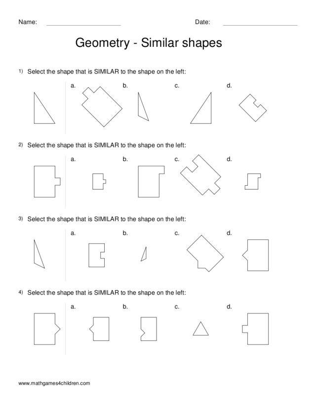 3rd Grade Geometry Worksheets Geometry Similar Shapes Worksheet for 2nd 3rd Grade