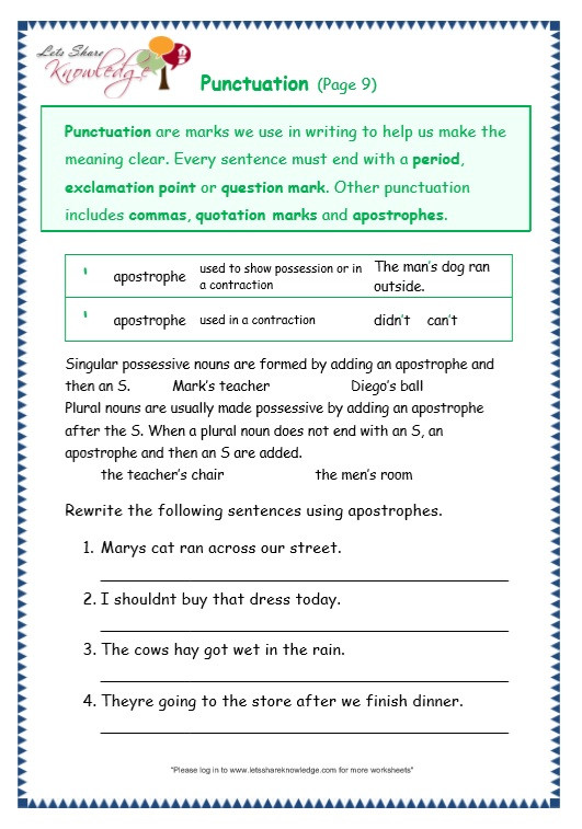 3rd Grade Grammar Worksheets Grade 3 Grammar topic 30 Punctuation Worksheets Lets