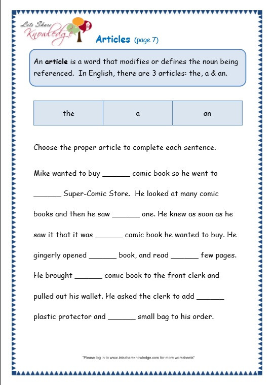 3rd Grade Grammar Worksheets Grade 3 Grammar topic 34 Articles Worksheets Lets