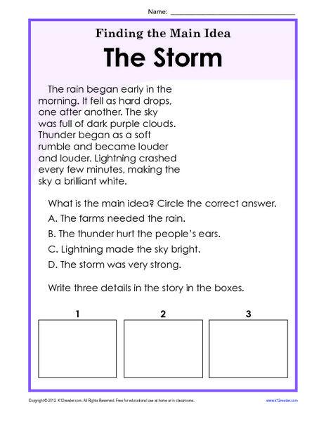 3rd Grade Main Idea Worksheets Finding the Main Idea Worksheets 3rd Grade