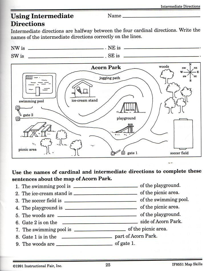 3rd Grade Map Skills Worksheets Intermediatedirectionsworksheet 2392—3088