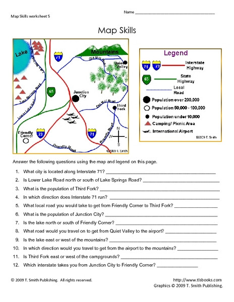 3rd Grade Map Skills Worksheets Map Skills Worksheet 5 Lesson Plan for 3rd 5th Grade