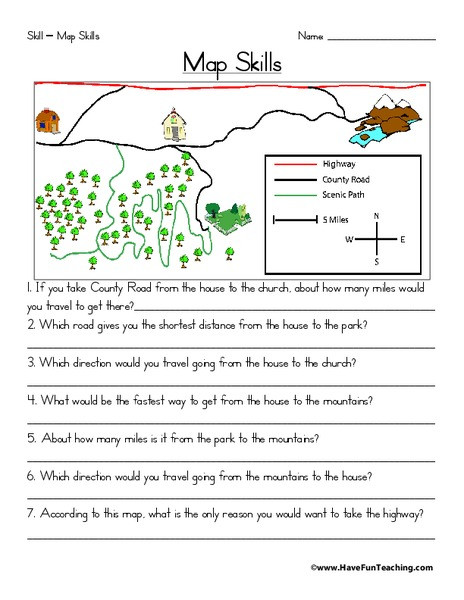 3rd Grade Map Skills Worksheets Map Skills Worksheet for 2nd 3rd Grade