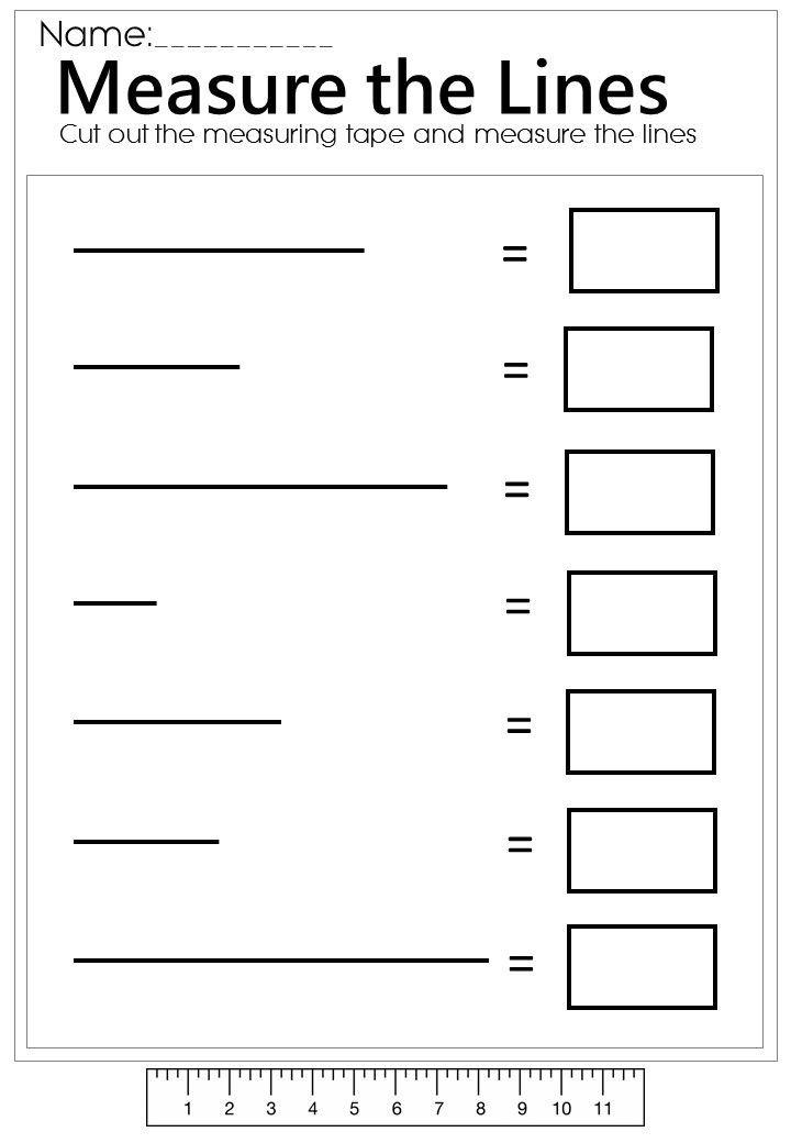 3rd Grade Measuring Worksheets Measure the Line Worksheet