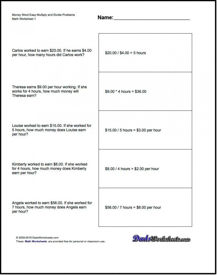 3rd Grade Money Worksheets Multiplication Word Problems Money Money Money