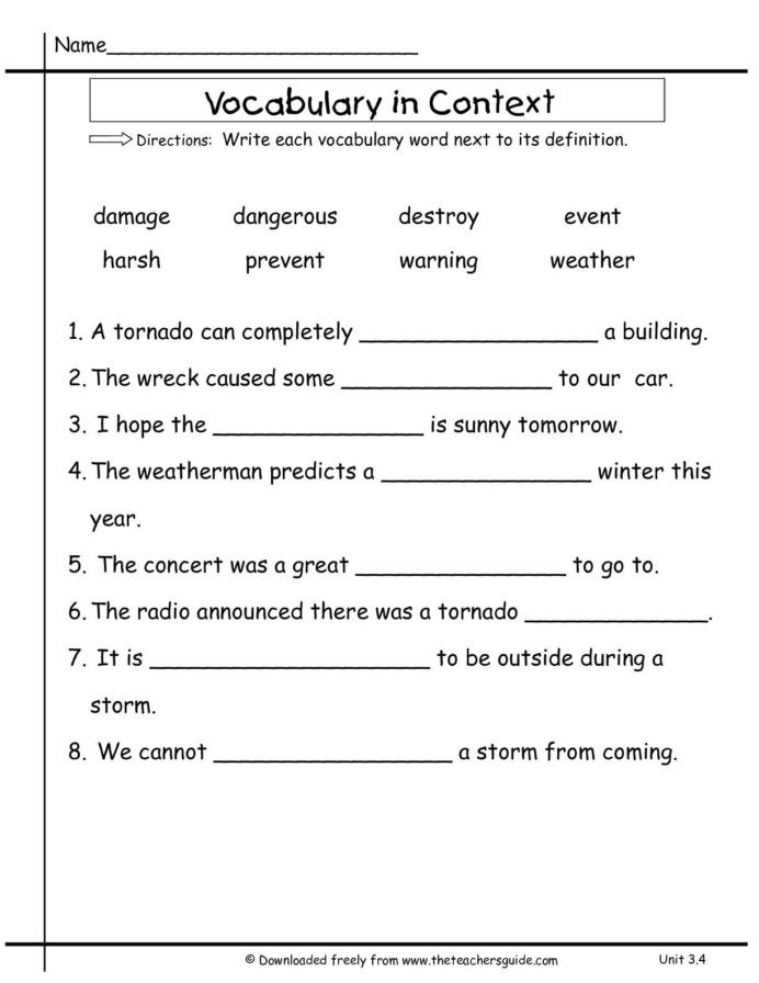 3rd Grade Vocabulary Worksheets 3rd Grade Vocabulary Worksheets for Educations 2nd Two Step