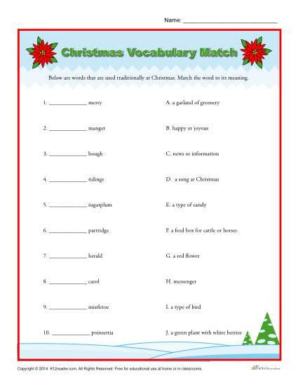 3rd Grade Vocabulary Worksheets Christmas Vocabulary Match