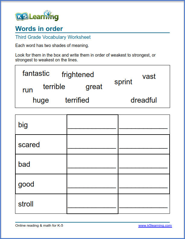 3rd Grade Vocabulary Worksheets Grade 3 Vocabulary Worksheets – Printable and organized by