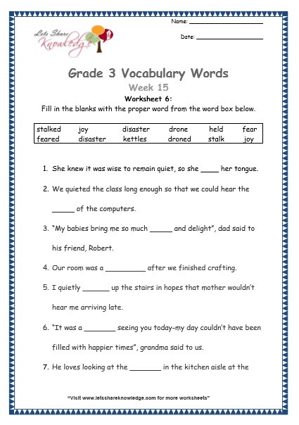 3rd Grade Vocabulary Worksheets Grade 3 Vocabulary Worksheets Week 15 Lets Knowledge