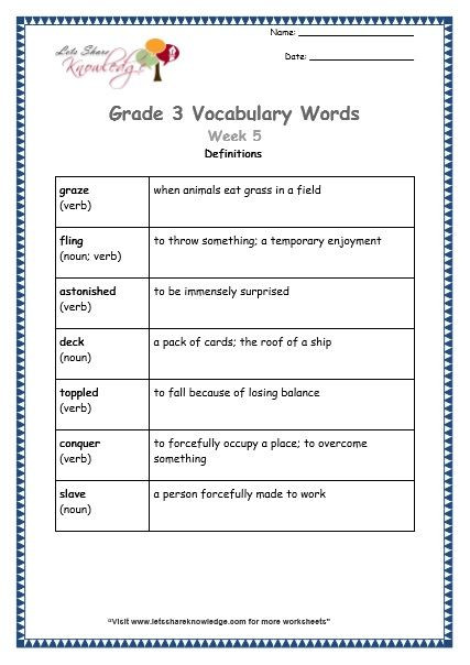 3rd Grade Vocabulary Worksheets Grade 3 Vocabulary Worksheets Week 5 Definitions