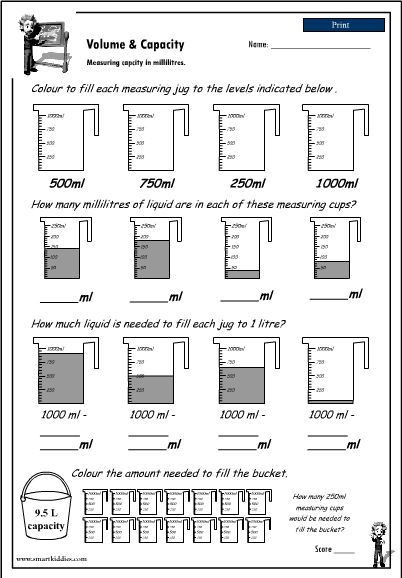 3rd Grade Volume Worksheets Reading A Measuring Scale to 1000ml to